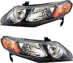 Headlight Units with Amber Park Lens Pair Set Replacements for Honda Civic Sedan 33151SNAA02 33101SNAA02