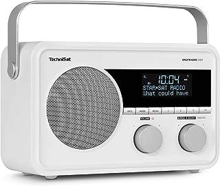 TechniSat DIGITRADIO 220 – Portables, empfangsstarkes Digitalradio (DAB+, UKW Radio, Wecker, Sleeptimer und Aux Anschluss für Kopfhörer, Akku, Indoor & Outdoor zu nutzen, 5 Watt), weiß
