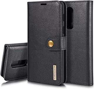 OnePlus 6 Case, DG MING Retro Cowhide Leather Magnetic Detachable 2 in 1 Wallet Cover Case for OnePlus 6 (Black)