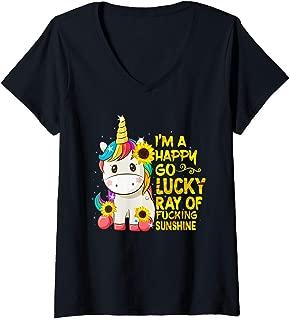 Womens I'm A Happy Go Lucky Ray Of Fucking Sunshine Cute Unicorn V-Neck T-Shirt