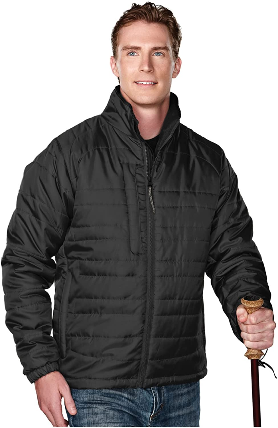 Tri-Mountain Men's 100% Polyester Rib- Stop Long Sleeve Quilt Jacket With Water Resistent, XL, Black/Charcoal