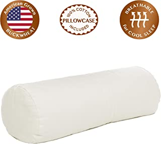 """ComfyComfy Round Buckwheat Hull Pillow for Side Sleeper Neck Support, Extra Large Size (23"""" x 7.5""""), Breathable for Cool Sleep, USA Grown Buckwheat and Durable Cotton Twill, with Custom Pillowcase"""