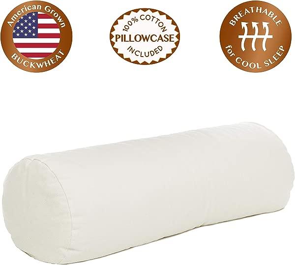 ComfyComfy 圆柱形荞麦壳枕头超大尺寸 23X7 5 透气凉爽睡眠美国种植的荞麦和耐用的棉斜纹枕套