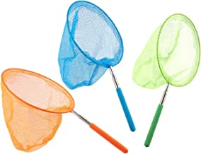 Pack of 3 Butterfly Nets - Telescopic Bug and Insect Catching Nets for Kids - Expands up to 34 Inches, 8 x 14.25 Inches, Green, Blue, Orange