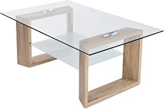 HomeSouth - Mesa de Centro Fija Cristal Transparente Patas Color Cambria