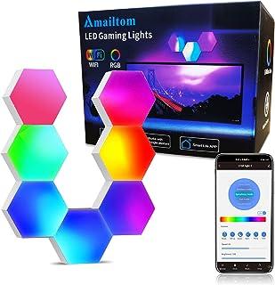 Sechseck Wandleuchte Funktioniert mit Alexa Google Assistant,WiFi Smart RGB Gaming Wandleuchte LED Leuchtpanel Sprachsteue...
