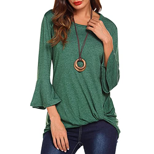 a902d405d8b5f Womens Casual Twist Knot Shirt 3 4 Bell Sleeve Tshirt Ruched Loose Fit Tie  Top