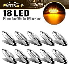 Partsam 10Pcs 6-3/5 Inch Flat-line Oval Stealth Amber Led Side Marker Lights Clear Lens 18LED Sealed w Bullet Plug Flush Mount Waterproof Led Front Fender Marker Lights Panel Lites