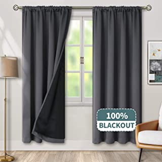 BGment Thermal Insulated 100% Blackout Curtains for Bedroom with Black Liner, Double Layer Full Room Darkening Noise Reducing Rod Pocket Curtain (52 x 84 Inch, Dark Grey, 2 Panels)