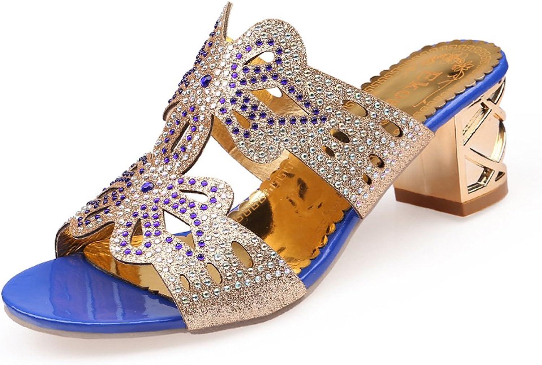 Genepeg Womans Sandals Summer shoes Rhinestone High Heels Wedding Party Beach Sandals