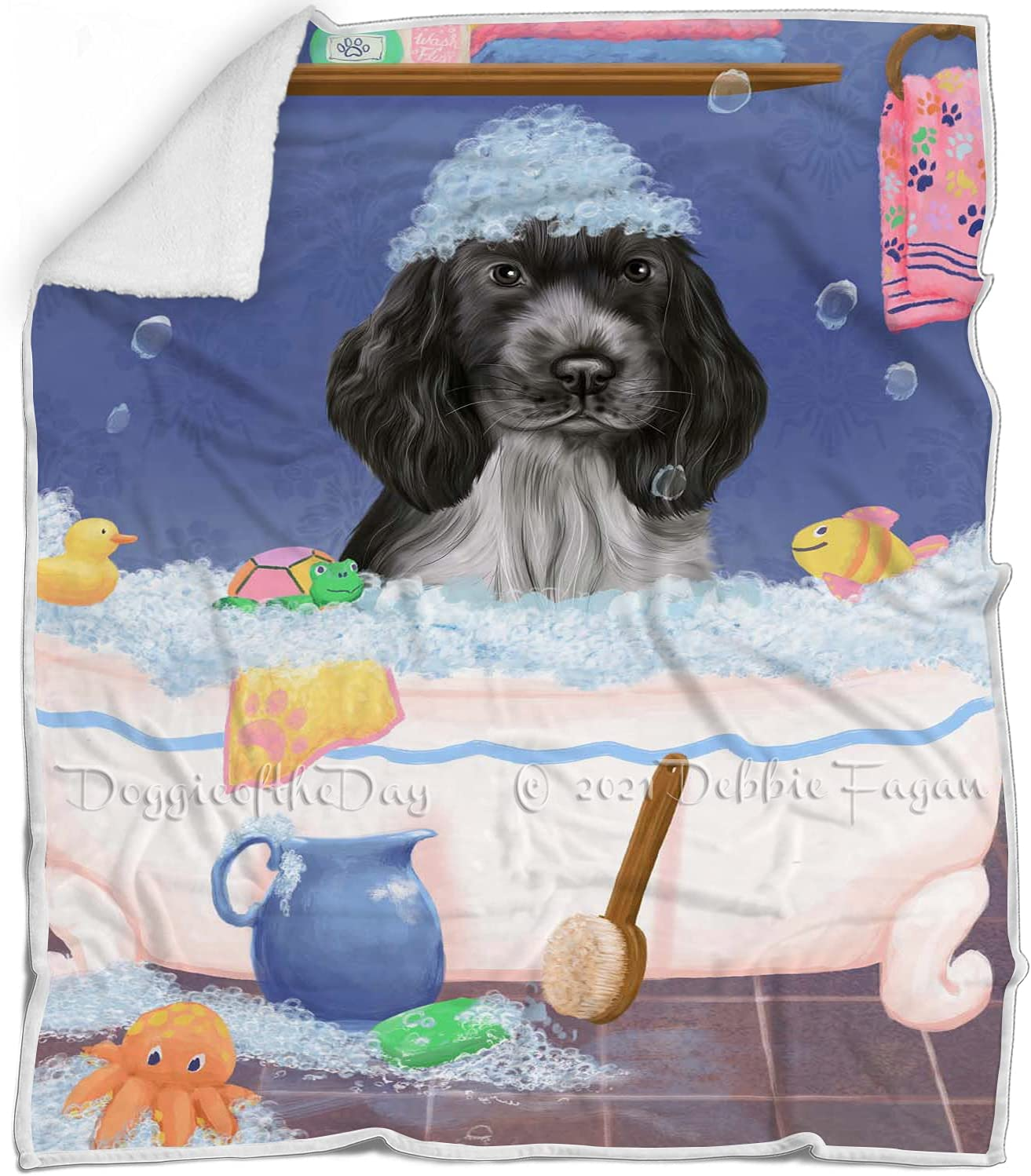 Doggie of the Day Rub A Dub in Spaniel Limited time trial price Dog cheap Tub Blan Cocker