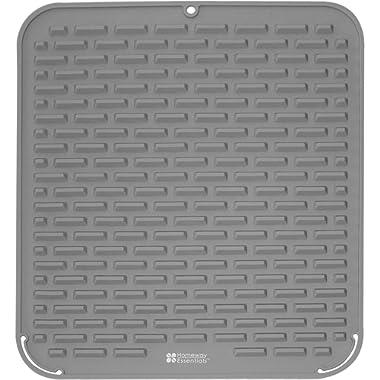 Silicone Dish Drying Mat - 18 x 16 - Extra High Ridges for Faster Drying, Kitchen Dish Mat, Counter top Mat, Dish Draining Mat, Sink Mat, Heat Resistant Trivet (GREY)