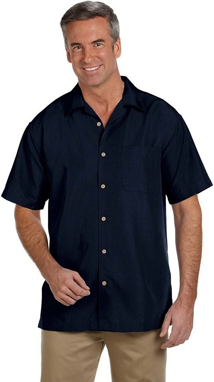 Harriton M560 Mens Barbados Textured Camp Shirt