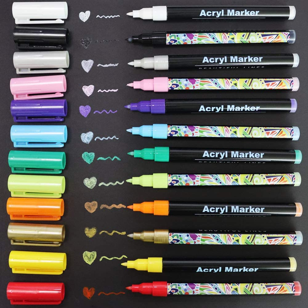 Los Angeles Mall 12 Colors Art Markers Pens Set Paint Ma Acrylic Indianapolis Mall