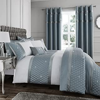 Catherine Lansfield Sequin Cluster Duvet Quilt Cover Set - Duck Egg Blue - UK King
