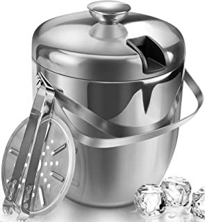 Jozo Ice Bucket Insulated with Tongs and Lids 3.4 Quarts for Parties and Bar, Stainless..