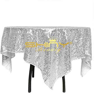 ShinyBeauty Silver Square Sequin Tablecloth 48x48-Inch, Birthday Party Cake Table Overlay Dessert Table Cover Linen