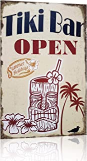Joyingle Vintage Tin Signs Tiki Bar Open Summer Holidays Metal Tin Sign 12 X 8inch
