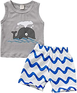 YOUNGER STAR Baby Vest and Shorts Blue Whales Infant Summer Clothing Set