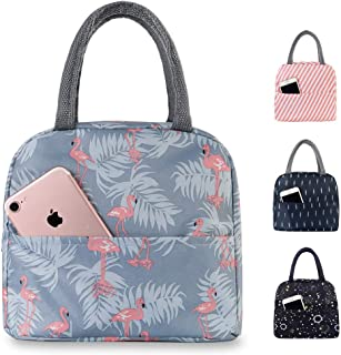 Buringer Reusable Insulated Lunch Bag Cooler Tote Box with Front Pocket Zipper Closure for Woman Man Work Picnic or Travel (Blue Red Flamingo)