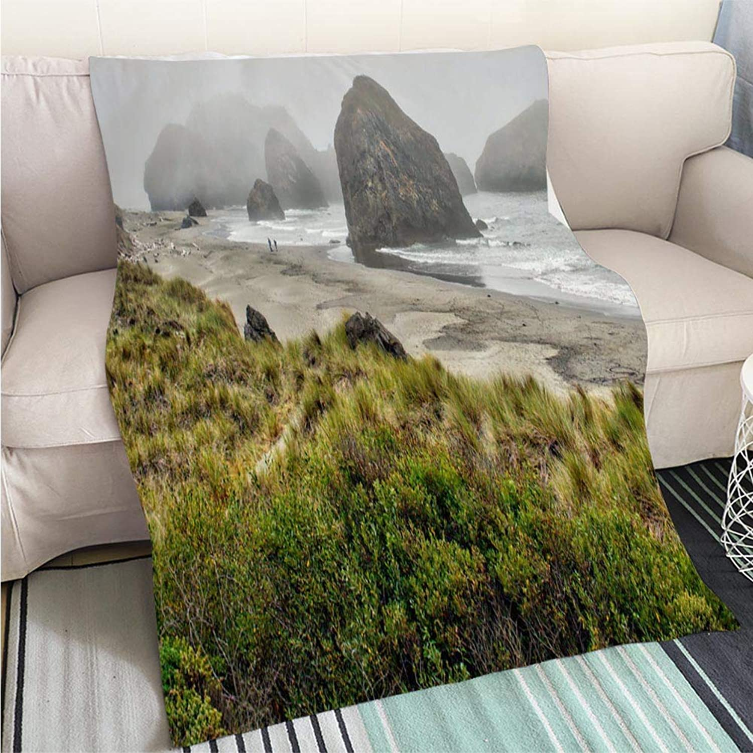 BEICICI Comforter Multicolor Bed or Couch View of The Beautiful Beach and Coastline Art Blanket as Bedspread gold White Bed or Couch