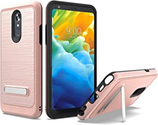 UNC Pro 2 in 1 Cell Phone Case Cover with Kickstand for LG Stylo 5, Brushed Metal Style Hybrid Shockproof Bumper Anti-Scratch, Rose Gold