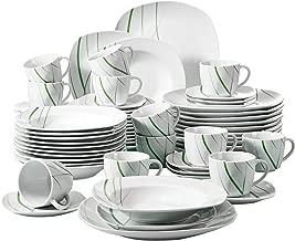 VEWEET Aviva Juegos de Vajillas 60 Piezas de Porcelana con 12 Taza 175 ml, 12 Platillos, 12 Platos, 12 Platos de Postre y 12 Platos Hondos para 12 Personas