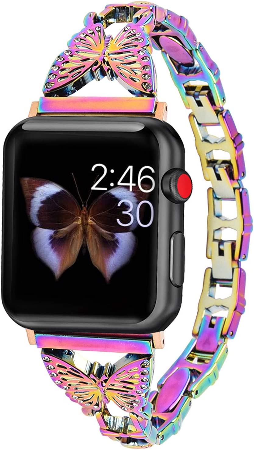 Hi-Yoohere Elegent Stylish Bands Compatible with Apple Watch 42mm 44mm Chic Butterfly Diamond Rhinestone Stainless Steel Metal Wristband Strap for iWatch SE & Series 6/5/4/3/2/1 (Colorful)