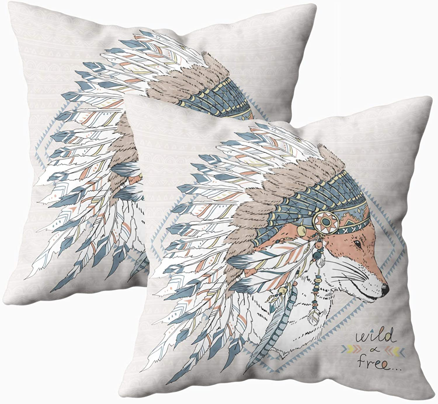 Yecationy Throw Pillows, Square Lumbar Pillow Cover Animal Fox Warrior in War Native American Poster Shirt t Home Decorative Pillow Covers 18X18 Pillow Cases,2PCS
