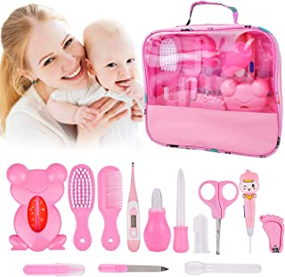 Baby Grooming Healthcare Kit 14 Set, Baby Care 13 In 1 Newborn Essentials Stuff Shower Gifts Nail Clippers Trimmer Products, Comb Brush Thermometer Medicine Dispenser, Nursery Care First Aid Kits Pink
