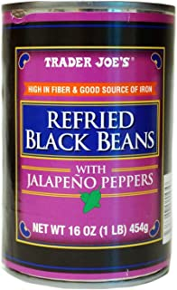 Trader Joe's Refried Black Beans with Jalapeno Peppers - 1 Can (1 lb.)