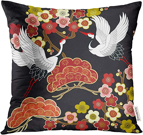 Emvency Throw Pillow Cover Blue Animal With Flying Birds Crane Heron Japanese Pattern Oriental Motifs Green Asian Decorative Pillow Case Home Decor Square 18x18 Inches Pillowcase