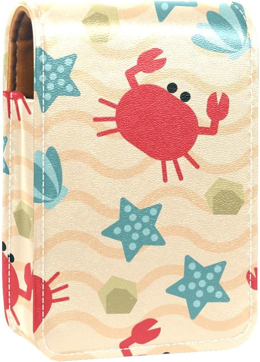 Makeup Lipstick Case For Outside Red P Crab Fees free Discount is also underway Shells Blue Starfish