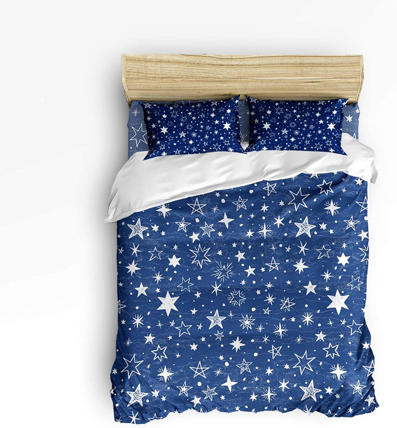 Bedding Set Twin Size HandPainted Star in bluee Background,Comforter Cover Sets for All Season