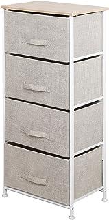 sogesfurniture Cajonera para Armario Organizador con 4 Cajones de Tela, Práctico Mueble Cajonera Mesita de Noche para el Dormitorio, Zonas pequeñas, 45x30x94 cm, 103N-BM-BH