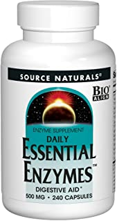Source Naturals Essential Enzymes 500mg Bio-Aligned Multiple Enzyme Supplement Herbal Defense for Digestion, Gas, Constipa...