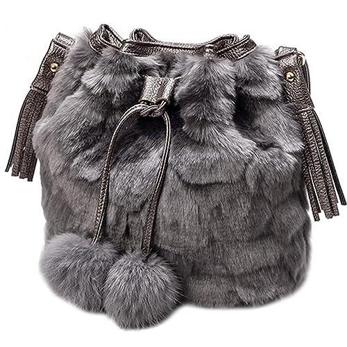 1b4d71dd2b99 LA HAUTE Women Winter Faux Fur Bucket Bag Plush Drawstring Shoulder Bag  Fluffy Pompon Crossbody Bag