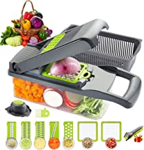 Gluckluz Vegetable Chopper Spiralizer Slicer Dicer Cutter with Container Pro Food Chopper Cheese Grater Multi Blades for H...