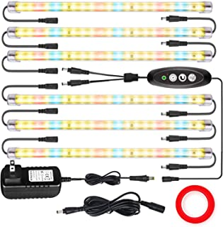 LED Plant Grow Lights Strips for Indoor Plants Full Spectrum with Auto ON & Off Timer, T5 Sunlike Grow Lights Bar Growing ...