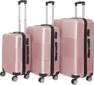 YINTON 3 Pcs Set of Luggage, Suitcase Durable ABS Fully Covered 361 Degree Silence Wheels Push-Button Handle Easy to Lock ...