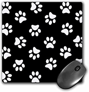 3dRose 8 X 8 X 0 25 Inches Black And White Paw Print Pattern Pawprints Cute Cartoon Animal Dog Or Cat Footprints Mouse Pad...