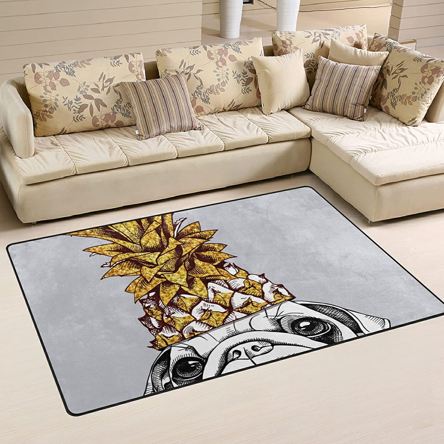 Pug Dog Gold Indianapolis Mall Pineapple Large Max 48% OFF Soft Area Nursery Playmat Rug Rugs