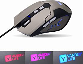 VANDER LIFE Gaming Mouse, USB Cable Gaming Mouse, 4-Color LED Breathing Light, Adjustable 4-Position DPI