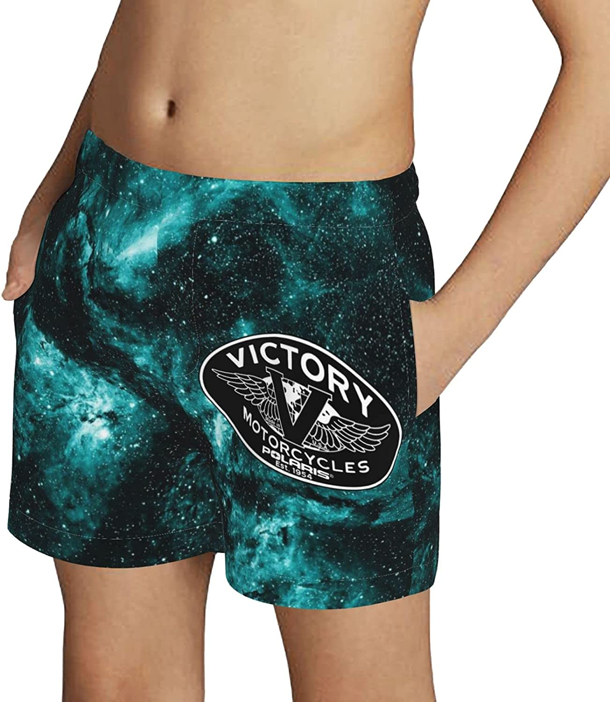 Victory Motorcycles Boys Swim Trunks Drawstring Beach Shorts Swimwear Boardshort with Pockets