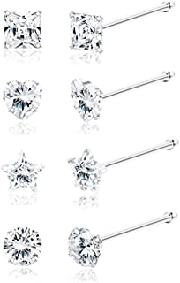Sllaiss 8 PCS 22G Piercing Naso in Argento Sterling 925 3MM Forme Assortite Zirconi Piercing Naso Anelli Body Piercing