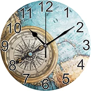 Joysay Old Vintage Retro Compass On Ancient Map Round Wall Clock Silent Non Ticking Decorative Wall Clock Battery Operated Home Office Art Clock