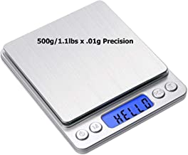 WeeWeigh Digital Scale Grams and Ounces 500g (1.1lbs) 0.01g Precision For Kitchen Cooking Herbs Jewelry Tare Count Pieces BONUS: 2 Platforms