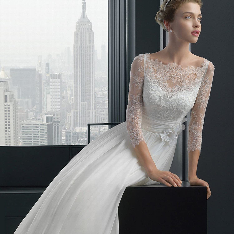 DIDIDD Lace LongSleeved Word Slim Princess Bride Small Trailing Wedding Dress