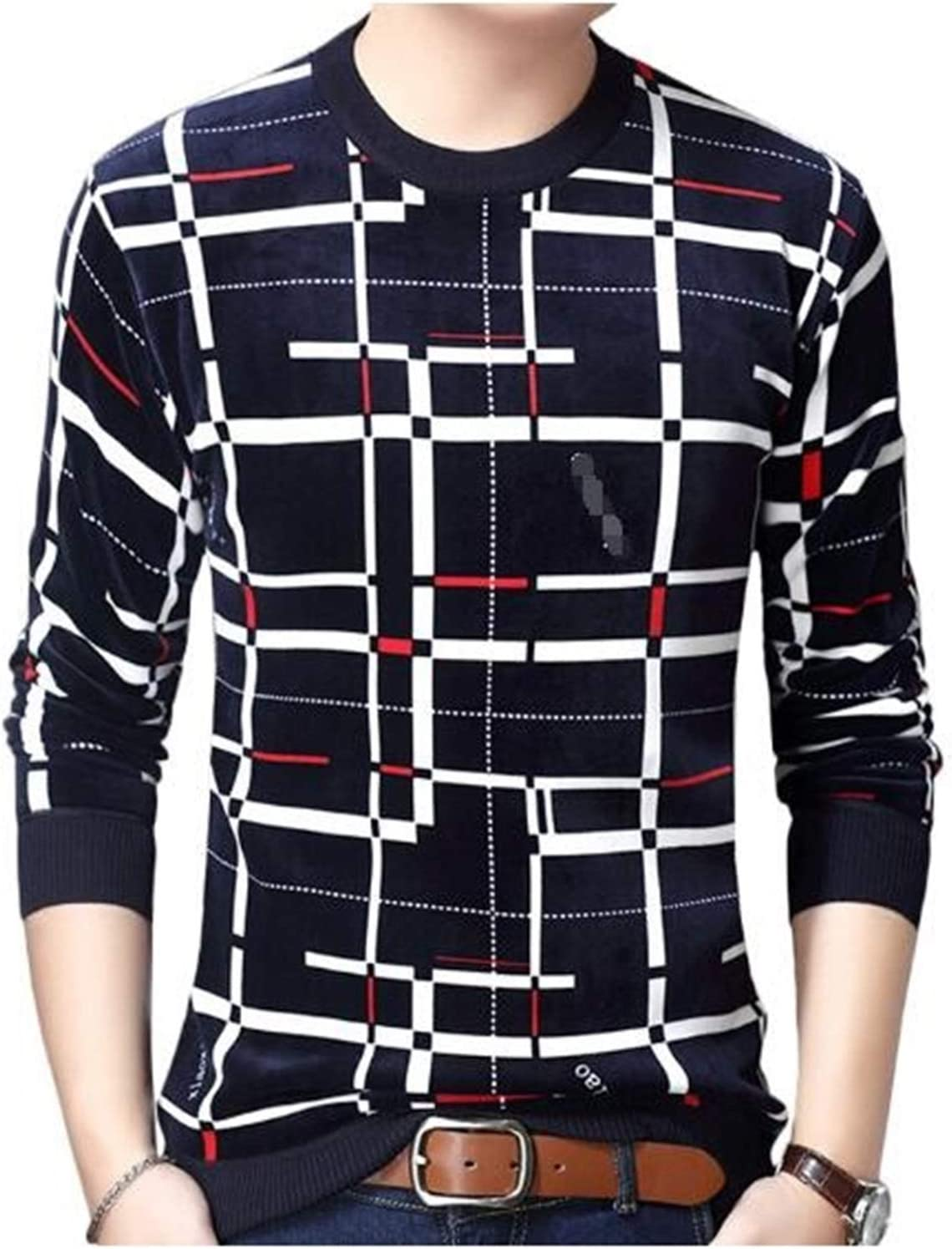 LSTGJ Pullover Plaid Men Sweater Mens Thick Winter Warm Jersey Knitted Sweaters Mens Wear Slim Fit Knitwear Lightweight (Color : Navy Blue, Size : XL.)