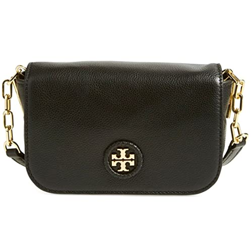 2418530b691 Tory Burch Whipstitch Logo Black Leather Gold-Tone Hardware Crossbody Bag  4132